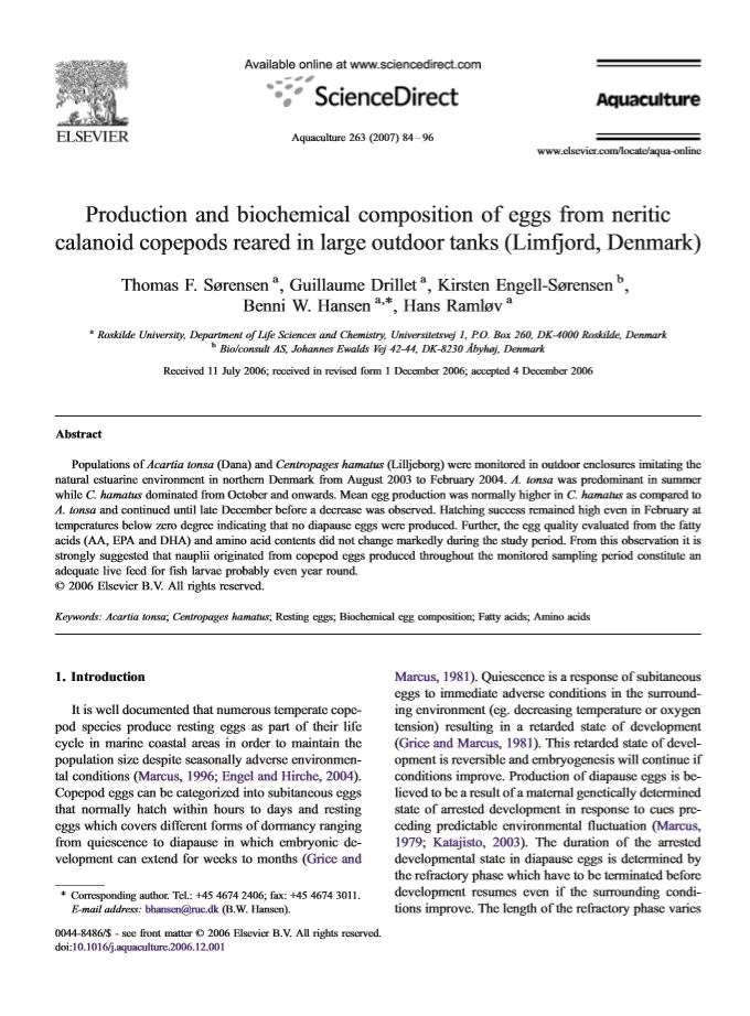 21.production and composition of eggs from neritic calanoid copepods reared in large outdoor tanks
