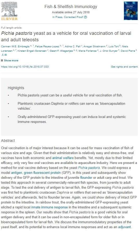 28_pichia pastoris yeast as a vehicle for oral vaccination of larval and adult teleosts